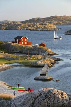 Photograph-View over red Swedish house and islands of archipelago, Skarhamn, Tjorn, Bohuslan Coast-Photograph printed in the USA Swedish House, Iceland Travel, Stockholm Sweden, Archipelago, Old Town, Beautiful Places, Coast, Around The Worlds, Stock Photos