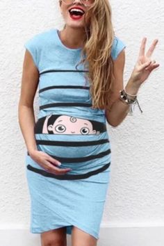 Women'S Maternity Dresses Sleeveless Cartoon Cute Print Dress Pregnanty Casual Dresses Clothes For Pregnant Wome Casual Maternity Dress, Baby Prints, Autumn Summer, Cap Sleeves, Firecracker, Pink, Color, Style, Fashion