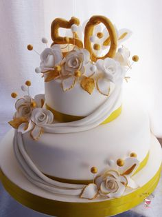 Torta Nozze d'oro, Gold 50's Wedding Cake