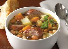 S&W's Mixed Bean and Potato Soup is perfect for autumn! Ingredients: 1 T. vegetable oil, 8oz smoked turkey sausage, 1 large onion (about 1 c.), 2 celery stalks (about 1 c.), 2 garlic cloves, 1 (48oz) carton 33% less sodium fat free chicken broth, 1 (15oz) can S&W® White Beans,  1 (15oz) can S&W® Pinto Beans,  1 (15oz) can S&W® Black Beans,  2 c. cubed peeled sweet potatoes (about 12oz), 2 c. cubed peeled baking potatoes (about 12oz), 1 bay leaf, 1 t. dried thyme leaves, Salt & Pepper to…