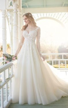 840 Wedding dress with illusion lace sleeves and organza skirt by Martina Liana