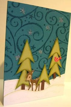 """Love the trees and the night sky. The trees were made using SU's Petite Pennants punch and then cutting a """"v"""" into them with paper snips,  layering them on dimensionals."""