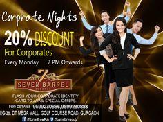 Corporate nights are back. Mingle business with pleasure at 7 Barrel Brew Pub tonight... #corporatenights #corporatenightsingurgaon #partypackage