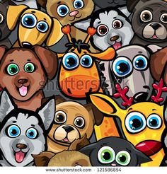 Seamless animal pattern with funny cartoon dogs, cat, deer and giraffe