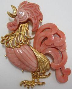 Hattie Carnegie Rooster Pin