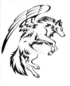 Courage Winged Wolf Tattoo by CaptainMorwen. on deviantART - Courage Winged Wolf Tattoo by CaptainMorwen.dev… on deviantART - Wolf Tattoos, Tribal Tattoos, Tribal Drawings, Tribal Wolf Tattoo, Tattoo Drawings, Body Art Tattoos, Celtic Tattoos, Sleeve Tattoos, Cute Wolf Drawings