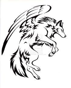 Courage Winged Wolf Tattoo by CaptainMorwen.deviantart.com on @deviantART