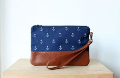 Items similar to Nautical Navy wristlet Clutch Purse Wallet Vegan Faux leather Retro Vintage Blue Anchor on Etsy Clutch Purse, Purse Wallet, Day Bag, Little Bag, Nautical Theme, Small Bags, Leather Bag, Retro Vintage, Polka Dots