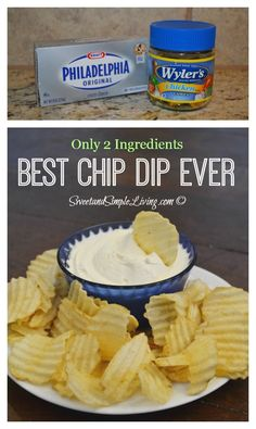 Cinco De Mayo Discover Cream Cheese Dip: The Best Chip Dip Ever! This is seriously one of the best dip recipes ever! You wont believe just how easy it is to make too! ONLY 2 INGREDIENTS! Best Chip Dip, Best Chips, Yummy Appetizers, Appetizer Recipes, Snack Recipes, Milk Recipes, Fruit Dip Recipes, Avacado Appetizers, Prociutto Appetizers