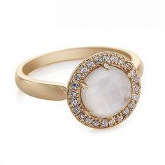 gewoon zilveren roos goud parelmoer ring met pave surround