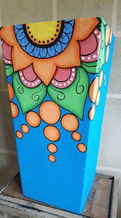 Best 12 Resultado de imagen para macetas pintadas – SkillOfKing.Com Clay Pot Crafts, Wood Crafts, Diy And Crafts, Arts And Crafts, Painted Clay Pots, Painted Flower Pots, Hand Painted, Flower Pot Art, Flower Pot Design
