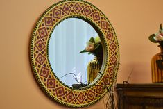 Rustic Furniture, Mexican Furniture, Talavera Tile, Folk Art Large Round Mirror, Oval Mirror, Round Mirrors, Handmade Furniture, Rustic Furniture, Latin Decor, Spanish Interior, Mexican Furniture, Ceramic Jars