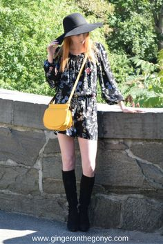 Great new pieces for Fall Fashion in New York City. Parker Floral Romper, Aquatalia Rhumba Boots, Bohemian Bliss Hat, Vera Bradley Bag.