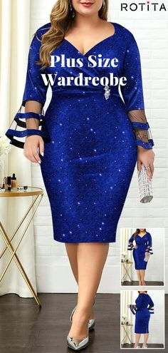 """2020 Plus Size Flare Sleeve Mesh Panel Dress - - """"Beauty is not just one look"""" For every curvy girl. Dress Outfits, Fashion Outfits, Womens Fashion, Girl Fashion, Dress Fashion, Plus Size Dresses, Plus Size Outfits, African Dresses Plus Size, Mode Plus"""