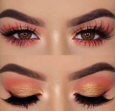 Yellow and orange and pink eotd eye makeup eyeshadow
