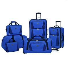 ON SALE! US Traveler Navy Palencia 5pc Spinner, Roller, Duffel, Tote Luggage Set
