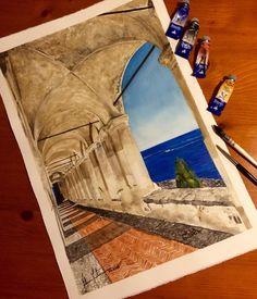 "AF - Fine Art on Instagram: """"Le Logge di Santa Chiara 03.2016 #instaart #amazing #realistic #realisticdrawing #newden #art_help #art_of_me #colorful #drawing #draw #artsy #painting #wordofartists #landascape #italian #italianlovers #artfido #skrien #dibujo #artmagazine #portico #liguria #imperia #lovemyjob #lovehome #casadolcecasa #missu #watercolor #acquerello #paesaggio"""