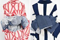 宵闇に沈みゆく空のような紺のぼかしに花薬玉が重ねられた、大正浪漫・昭和レトロな詩情ただよう化繊の半幅帯です。 Yukata Kimono, Kimono Outfit, Kimono Fabric, Kimono Fashion, Fashion Outfits, Japanese Clothing, Japanese Outfits, Japanese Kimono, Japanese Fashion