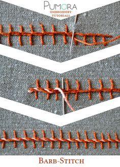 Pumora's embroidery stitch-lexicon: the barb-stitch