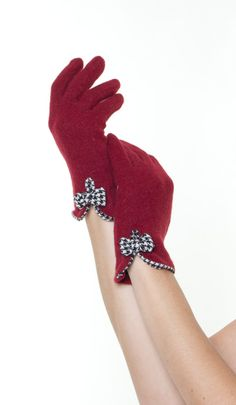 Red Sweet Houndstooth Bow Gloves
