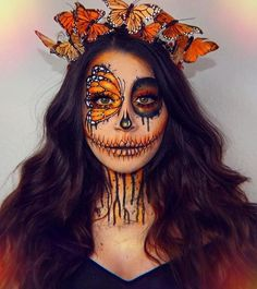 50 Scary Halloween Makeup Looks You Should Try This Year - Page 48 of 50 - Makeup Looks - Halloween Amazing Halloween Makeup, Pretty Halloween, Halloween Eyes, Halloween Costumes, Sugar Skull Halloween, Halloween Makeup Tutorials, Halloween Make Up Scary, Disney Halloween Makeup, Halloween Makeup Artist