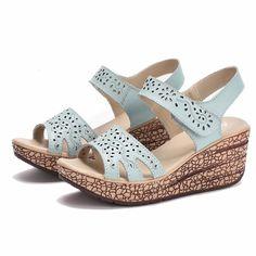 Summer Women Wedge Outdoor Leather Beach Sandals Platform Piscine Mouth Shoes