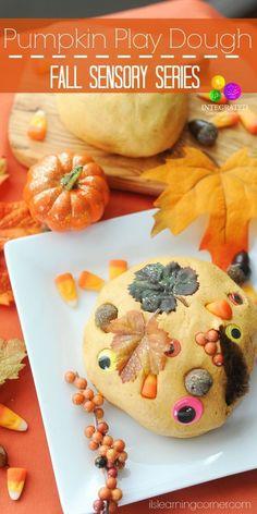Pumpkin Play Dough Recipe + Extra Sensory Fun - Fall Sensory Series on The Jenny… Sensory Activities, Sensory Play, Preschool Activities, Sensory Bins, Preschool Kindergarten, Toddler Preschool, Nursery Activities, Sensory Table, Halloween Activities