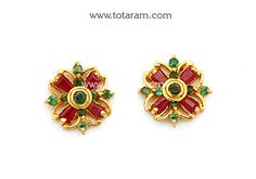 Gold Earrings for Women in 22K Gold with Ruby & Emerald - GER6651 - Indian Jewelry from Totaram Jewelers