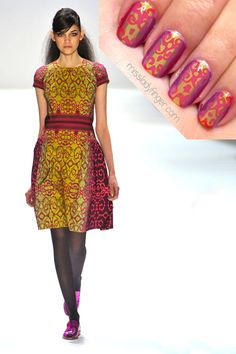 MANICURE MUSE: Nanette Lepore AW'12      You may recall the Nanette nail I did inspired by the Spring '12 collection. Nanette Lepore makes it easy to translate her youthful looks into nail art, because the colors are always so bright and rich. This season was no different with vibrant hues of tomato, pumpkins, cobalts, chartreuses and dark burgundies. Trust me when I say they look even better in person.         To emulate, I used Urban Purple by Rimmel London, Beach by Revlon, Carnaby Stre