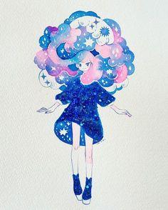 watercolour + nail polish Creds to owner Art And Illustration, Pretty Art, Cute Art, Anime Kunst, Anime Art, Dibujos Cute, Manga Drawing, Drawing Hair, Cute Drawings