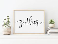 Gather Display this beautiful gather sign over a mantle or hang it in your dining room or living room. This lovely gather print can also be custom made in any color you want! Please see the photos in the listing for ideas. Or if you know what color you want, let us know! We can alter the Affordable Wall Art, Room Signs, Dining Room, Let It Be, Cool Stuff, Home Decor, Decoration Home, Room Decor, Interior Design