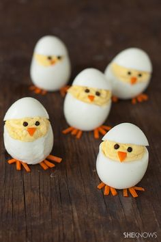 Easter Chicks Deviled Eggs recipe from @sheknows - Skip the plain old deviled eggs for these adorable hatching chicks. They're sure to be the hit of your Easter brunch.