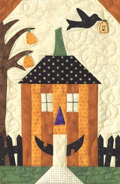 """Sewing Block Quilts Two Ladies Patch: Halloween House Quilt - Arlene Stamper and her daughter Melissa Harris, owners of The Quilt Company in San Diego, California, introduced """"Sew Spooky"""" at Spring Qu. Casa Halloween, Halloween Sewing, Halloween Projects, Fall Sewing, Halloween Season, House Quilt Block, House Quilts, Quilt Blocks, Halloween Quilt Patterns"""