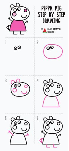 How to draw Suzy sheep - Peppa pig drawing and coloring pages step by step ideas easy step by step for kids Easy Drawings For Kids, Drawing For Kids, Drawing Drawing, Peppa Pig Drawing, Learning To Draw For Kids, How To Draw Kids, Peppa Pig Colouring, Toddler Drawing, Peppa Pig Family