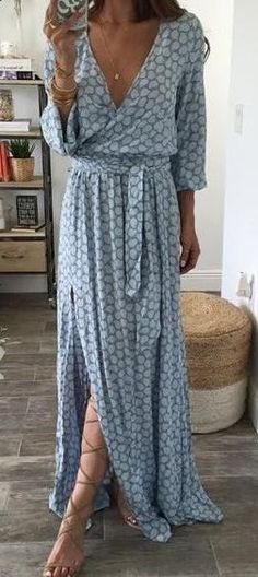 summer fashion wrap maxi dress