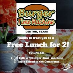 @burger_time_machine wants to treat you to a free lunch!  It\'s as easy as possible to enter! Just follow @burger_time_machine on Instagram & tag a friend in the comments. Multiple entries are cool. We\'ll run this til Thursday evening! Okay... go!  #dentonslacker #giveaway #burgertimemachine #freelunch #burgers #denton #dentontx #dentontexas #dentoning #doingitdenton #unt #twu #nctc #dentonite #discoverdenton #wedentondoit #wddi #onlyindenton #scoutdenton #wearedenton #dentonlocaldentonproud #dentonproud