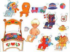Bajar gratis bebé recortable con camita, taza, silla, vestidos, pelota, babero, trenecito de juguete y osito.