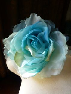 SALE Silk and Organza Rose in Turquoise Aqua Mermaid  for Bridal, Derby, Ascot, Bouquets, Hats MF 137 -  6139