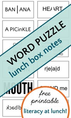 Wuzzles are fun brain teaser word puzzles. Printable lunch box notes insert a little literacy at lunch time at make great ice breakers for kids at school. Word Brain Teasers, Brain Teaser Puzzles, Fun Brain, Brain Games, Brain Food, Lunch Box Recipes, Lunch Ideas, Free Printable Puzzles, Lunch Box Containers