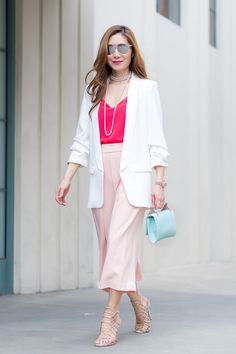 Outfit Ideas, Style Inspiration, Spring Fashion, Dior Reflected Sunglasses, M2Malletier Fabricca Clutch, Culottes, Steve Madden Slithur Sandals