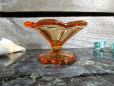 Vintage Marigold Glass, Scalloped Edge Pedestal Bowl, Yogart, Sherbet, Parfait, Urban, Farmhouse Dining & Serving Kitchen and Home Accessory by TheStorageChest on Etsy