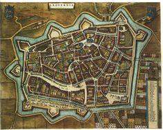 Blaeu Atlas: Leeuwarden (Ljouwert) ca 1662, Netherlands.  mooie kleuren.