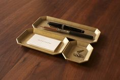brass geometric desk set