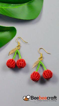 idea on making with - DIY Schmuck Ideen Bead Jewellery, Seed Bead Jewelry, Resin Jewelry, Jewelry Bracelets, Funky Earrings, Beaded Earrings, Beaded Jewelry Patterns, Beading Patterns, Cherry Earrings
