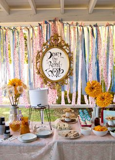 Alice in Wonderland birthday table setup