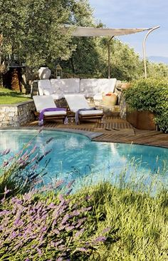 lavender, sunlight, lounge and pool..probably sea at the background. I can sense it...