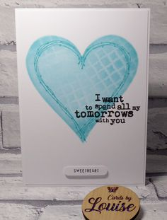 Handmade Valentine card, anniversary card, featuring red heart turquoise heart, I want to spend all my tomorrows with you by LouisesCardsandGifts on Etsy