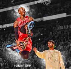 Toronto Raptors. Terrence Ross with Drake at Slam Dunk Contest at All Star Weekend 2014. Great picture by UNLIMITEDNBA
