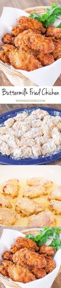 This Buttermilk Fried Chicken is super juicy, tender and so delicious! Perfect for lunch or dinner and served with a side salad. Buttermilk Fried Chicken, Fried Chicken Recipes, Meat Recipes, Yummy Recipes, Cooking Recipes, Yummy Food, Tasty, Turkey Recipes, Gastronomia