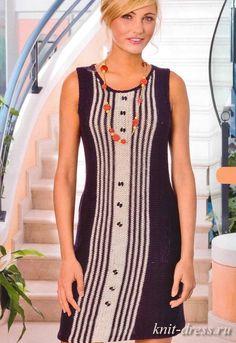 вязаное платье полосами